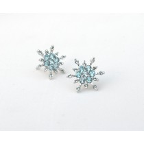 Swiss Blue Topaz Snowflake Stud Earrings - 14k White Gold