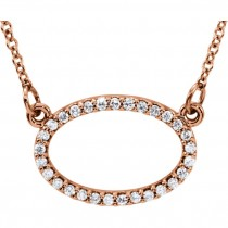 Diamond Oval Necklace - White, Rose or Yellow
