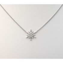 Diamond Snowflake Pendant - 14k White Gold