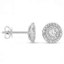 Double Halo Round Diamond Earrings