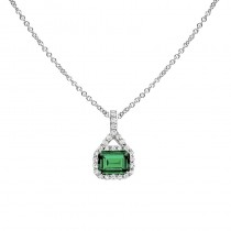 Lab Created Emerald and Diamond Pendant