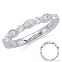 Alternating Marquise Round Band WG