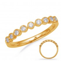 Round Milgrain Diamond Band YG