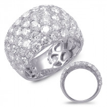 Five Row White Gold Pave Diamond Ring