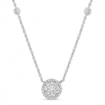 Floral Shaped Halo Diamond Pendant