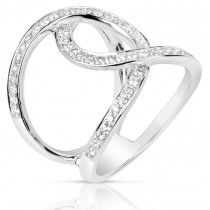 Open Cross Over Diamond Fashion Ring - Perspective