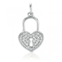 White Gold Heart Lock Charm