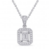 Emerald Cut Diamond Pendant White Gold