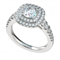 Double Row Cushion Halo Engagement Ring - Platinum