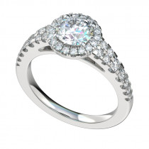 Tapered Shank Double Row Halo Engagement Ring - Platinum