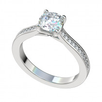 Faux Trellis Bead Bright Engagement Ring - Platinum