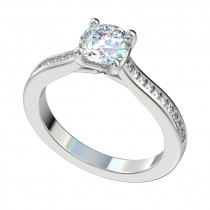 Faux Trellis Channel Set Engagement Ring - Platinum