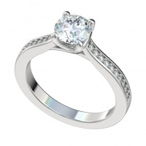 Trellis Bead Bright Engagement Ring - Platinum