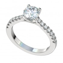 Trellis Split Prong Scalloped Engagement Ring - Platinum