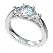 Three Stone Classic Trellis Engagement Ring - Platinum