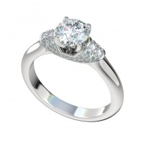 Pave Diamond Wrap Engagement Ring - Platinum