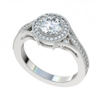 Vintage Basket Milgrain Halo Engagement Ring - Platinum