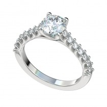 Reverse Trellis Cathedral Engagement Ring - Platinum