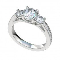 Three Stone Bead Bright Trellis Engagement Ring - Platinum