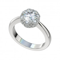 Milgrain Cluster Halo Engagement Ring - Platinum