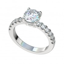 Scalloped Four Prong Basket Engagement Ring - Platinum