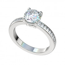 Channel Set Four Prong Basket Engagement Ring - Platinum