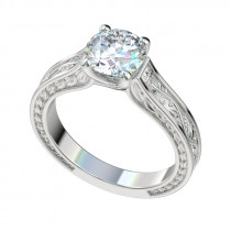 Trellis Vines Leaf Solitaire Engagement Ring - Platinum