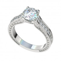 Trellis Vintage Leaf Engagement Ring - Platinum