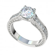 Trellis Graduated Leaf Engagement Ring - Platinum