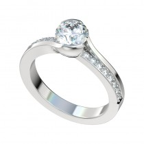 Half Bezel Bead Bright Bypass Engagement Ring - Platinum