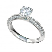 Knife Edge Bead Bright Engagement Ring - Platinum
