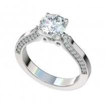 Four Prong Scroll Gallery Engagement Ring - Platinum