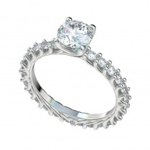 Shared Prong Reverse Trellis Eternity Engagement Ring - Platinum