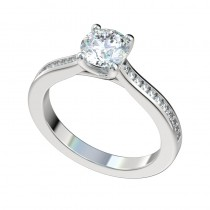 Trellis Channel Set Engagement Ring - Platinum