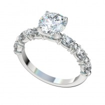 Oval Side Stones Engagement Ring - Platinum