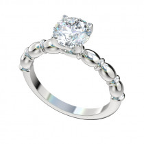 Sculptural Solitaire Engagement Ring - Platinum