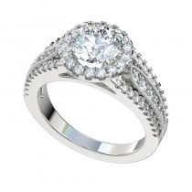 Triple Split Shank Halo Engagement Ring - Platinum