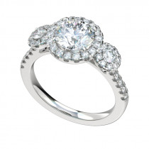 Three Stone Triple Halo Engagement Ring - Platinum