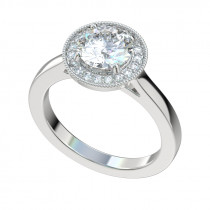Milgrain Plain Shank Halo Engagement Ring - Platinum