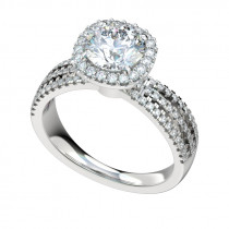 Triple Split Filigree Gallery Halo Engagement Ring - Platinum