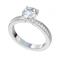 Bead Bright Four Prong Engagement Ring - Platinum