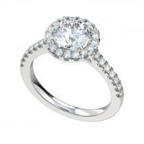 Scalloped Shared Prong Halo Engagement Ring - Platinum