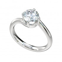 Twist Bypass Solitaire Engagement Ring - Platinum
