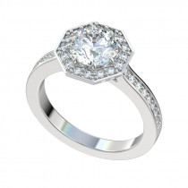 Octagon Halo Engagement Ring - Platinum