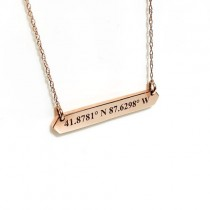 Chicago Coordinates Rose Gold Bar Necklace