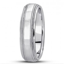 Step Edge Double Milgrain Wedding Ring - 6MM