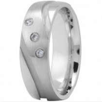 Three Diamond Curved Groove Ring - Platinum
