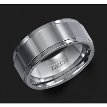 9MM Triton Tungsten Step Edge Wedding Band - Perspective