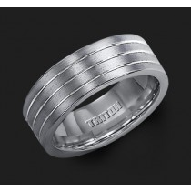 8MM Triton Gray Tungsten Triple Groove Wedding Band - Perspective