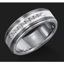 8MM Triton White Diamond Silver Inlay Wedding Band - Perspective